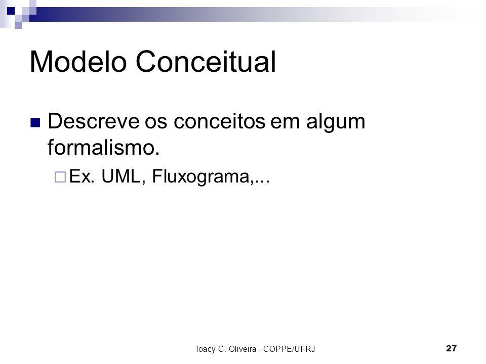 Toacy C. Oliveira - COPPE/UFRJ 27 Modelo Conceitual Descreve os conceitos em algum formalismo. Ex. UML, Fluxograma,...