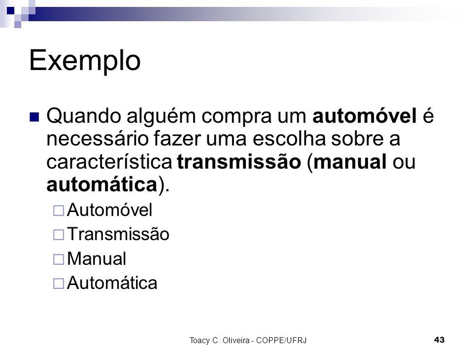 Toacy C. Oliveira - COPPE/UFRJ 43 Exemplo Quando alguém compra um automóvel é necessário fazer uma escolha sobre a característica transmissão (manual
