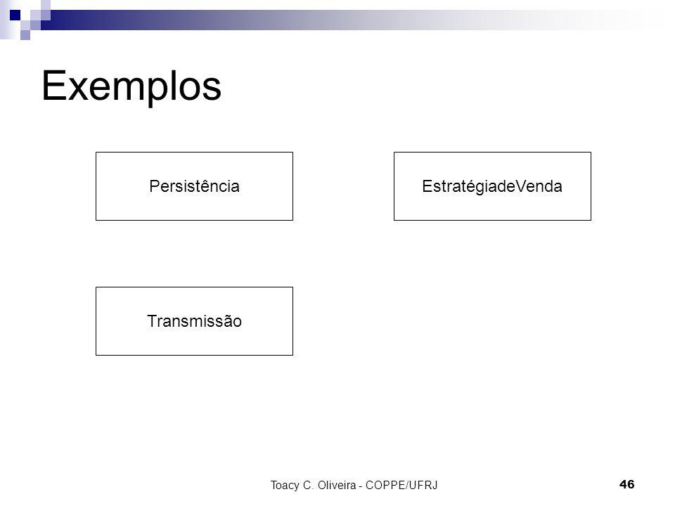 Toacy C. Oliveira - COPPE/UFRJ 46 Exemplos PersistênciaEstratégiadeVenda Transmissão