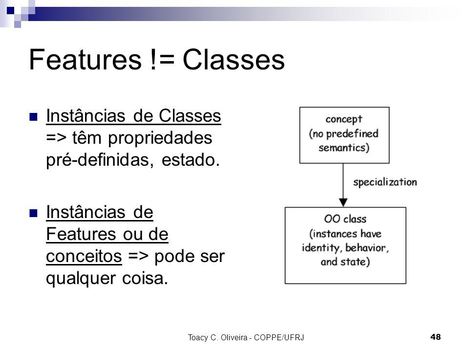 Toacy C. Oliveira - COPPE/UFRJ 48 Features != Classes Instâncias de Classes => têm propriedades pré-definidas, estado. Instâncias de Features ou de co