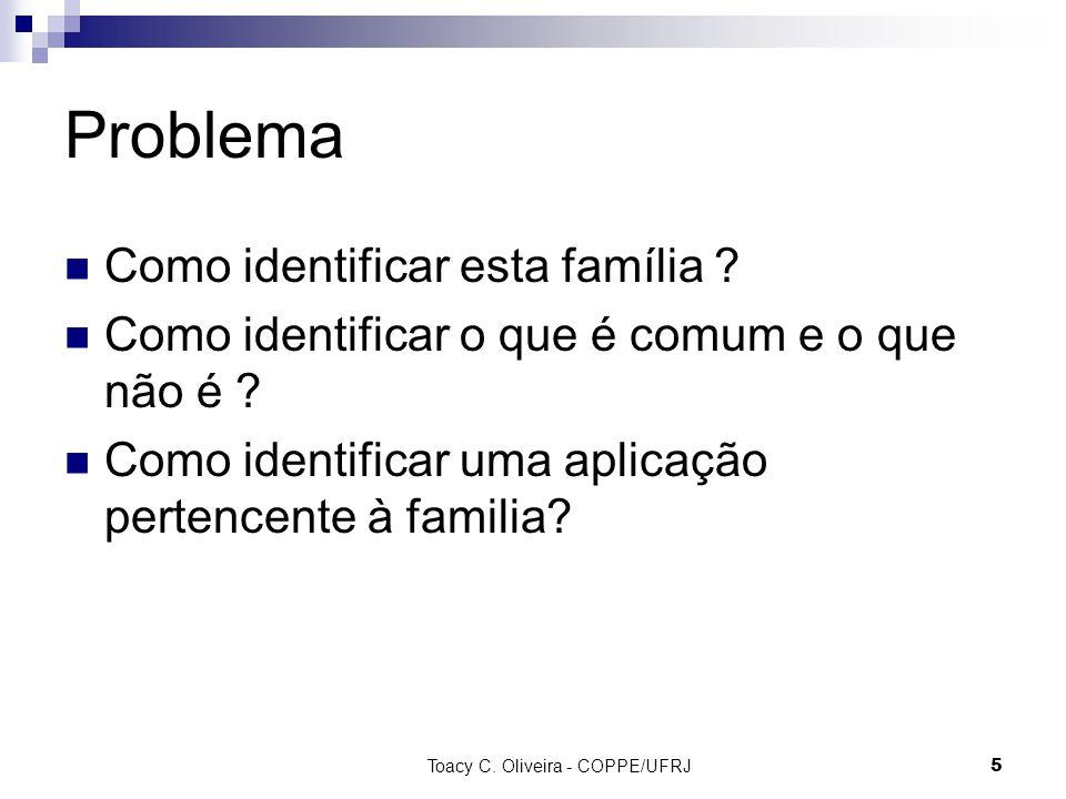 Toacy C. Oliveira - COPPE/UFRJ 5 Problema Como identificar esta família ? Como identificar o que é comum e o que não é ? Como identificar uma aplicaçã