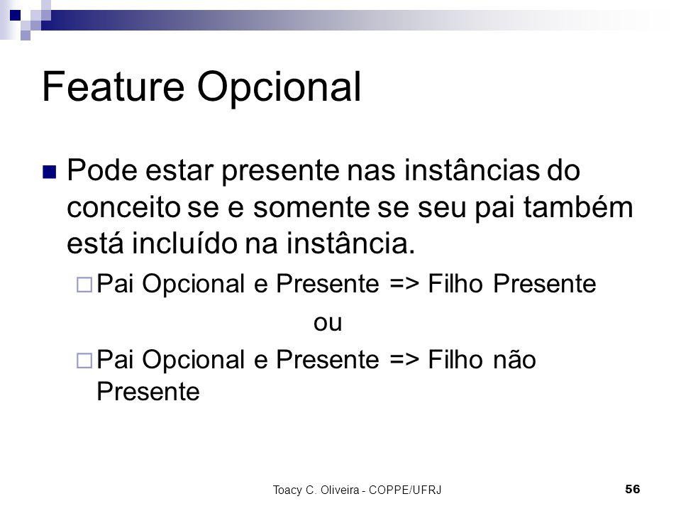 Toacy C. Oliveira - COPPE/UFRJ 56 Feature Opcional Pode estar presente nas instâncias do conceito se e somente se seu pai também está incluído na inst
