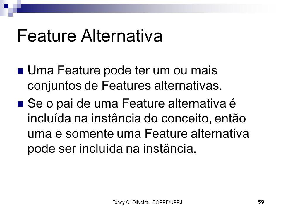 Toacy C. Oliveira - COPPE/UFRJ 59 Feature Alternativa Uma Feature pode ter um ou mais conjuntos de Features alternativas. Se o pai de uma Feature alte