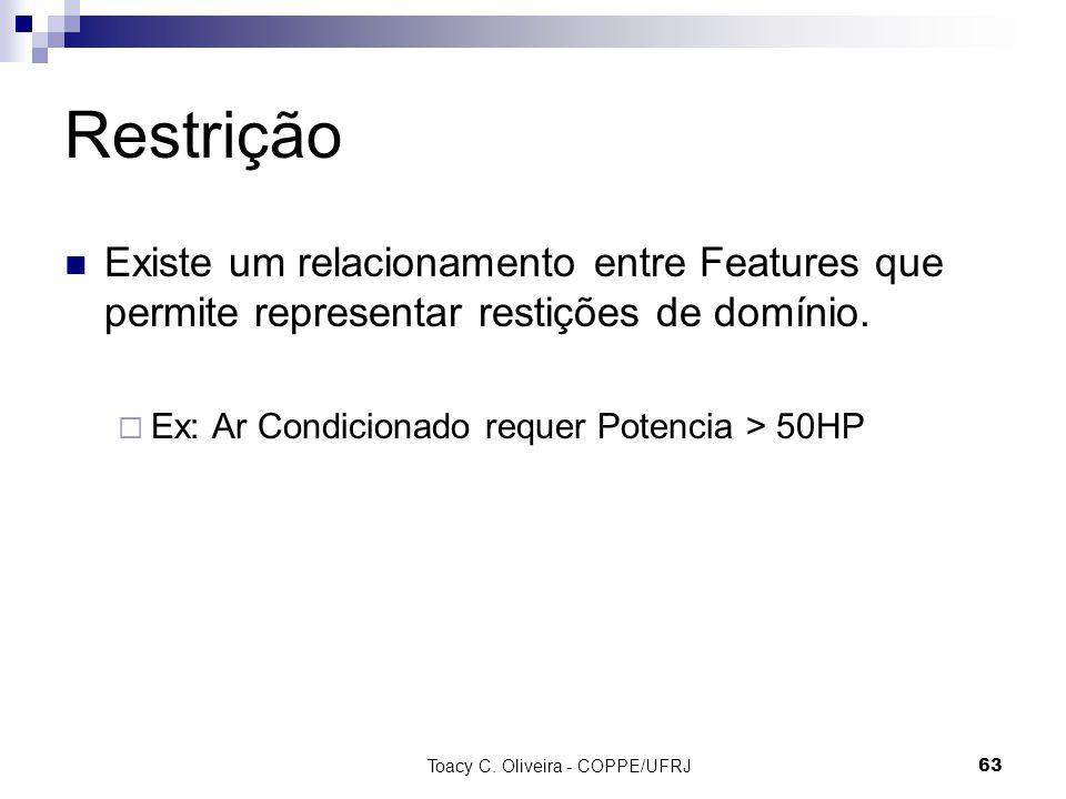 Toacy C. Oliveira - COPPE/UFRJ 63 Restrição Existe um relacionamento entre Features que permite representar restições de domínio. Ex: Ar Condicionado