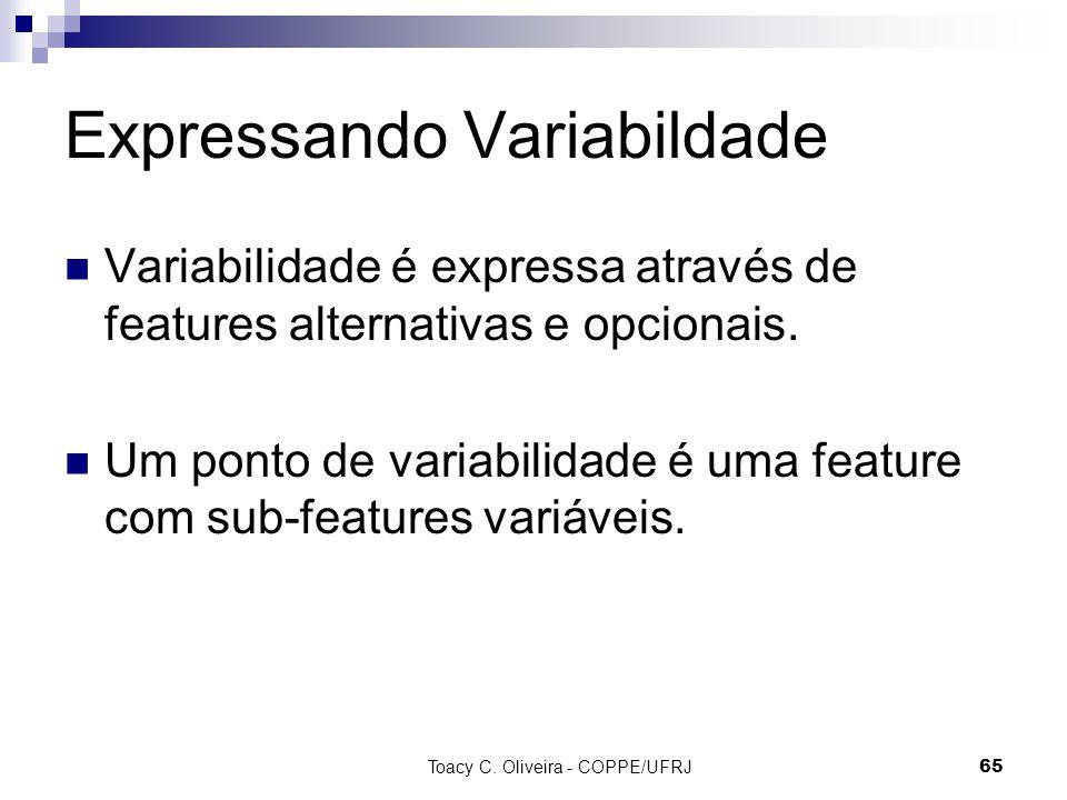 Toacy C. Oliveira - COPPE/UFRJ 65 Expressando Variabildade Variabilidade é expressa através de features alternativas e opcionais. Um ponto de variabil