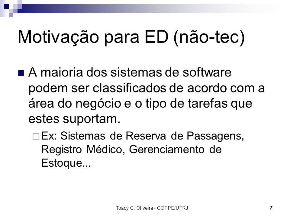 Toacy C. Oliveira - COPPE/UFRJ 7 Motivação para ED (não-tec) A maioria dos sistemas de software podem ser classificados de acordo com a área do negóci