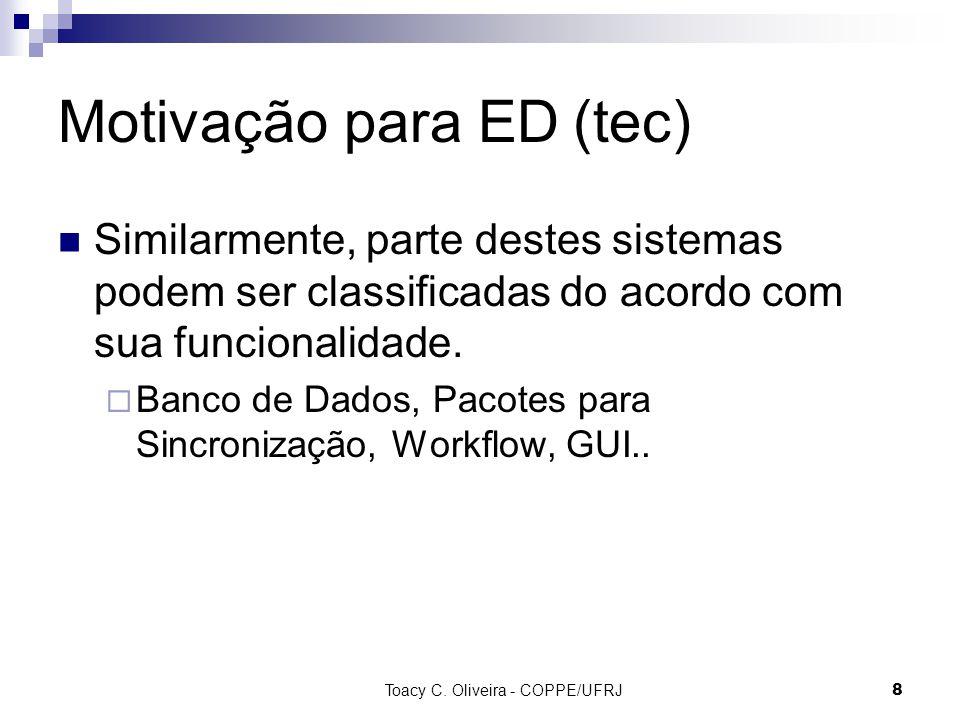 Toacy C. Oliveira - COPPE/UFRJ 8 Motivação para ED (tec) Similarmente, parte destes sistemas podem ser classificadas do acordo com sua funcionalidade.