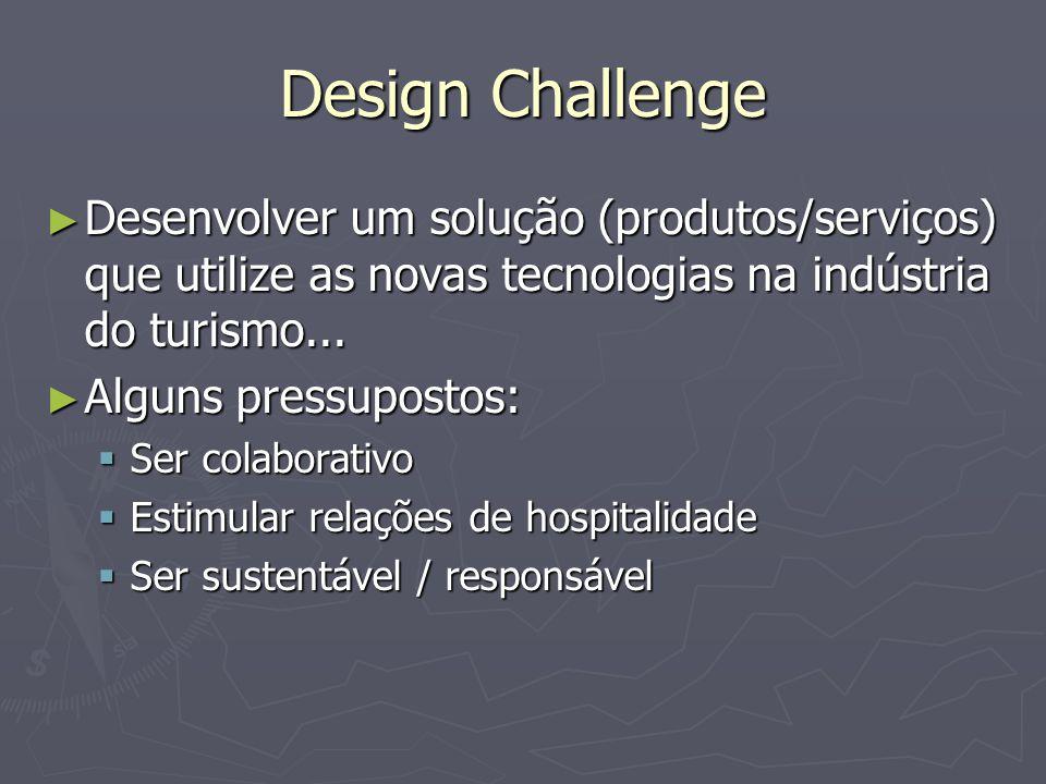 Design Challenge Desenvolver um solução (produtos/serviços) que utilize as novas tecnologias na indústria do turismo... Desenvolver um solução (produt