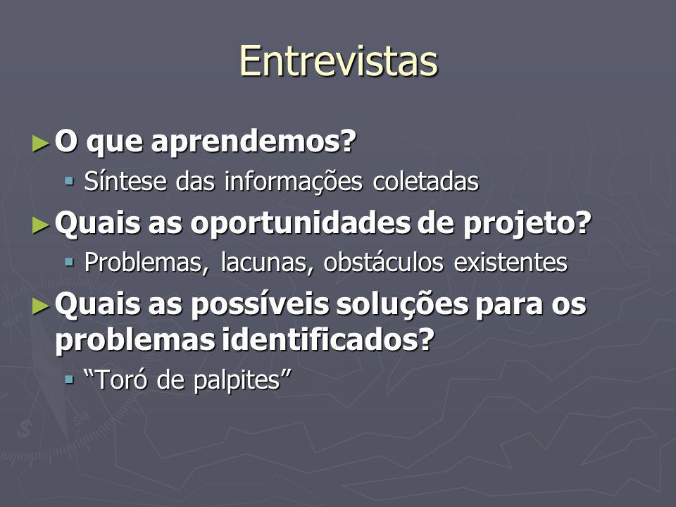 Entrevistas O que aprendemos? O que aprendemos? Síntese das informações coletadas Síntese das informações coletadas Quais as oportunidades de projeto?
