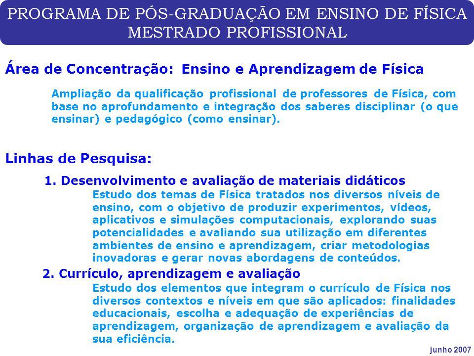 PROGRAMA DE PÓS-GRADUAÇÃO EM ENSINO DE FÍSICA MESTRADO PROFISSIONAL junho 2007 Área de Concentração: Ensino e Aprendizagem de Física Ampliação da qual