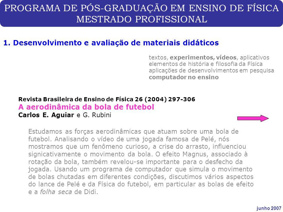 PROGRAMA DE PÓS-GRADUAÇÃO EM ENSINO DE FÍSICA MESTRADO PROFISSIONAL junho 2007 1. Desenvolvimento e avaliação de materiais didáticos Revista Brasileir