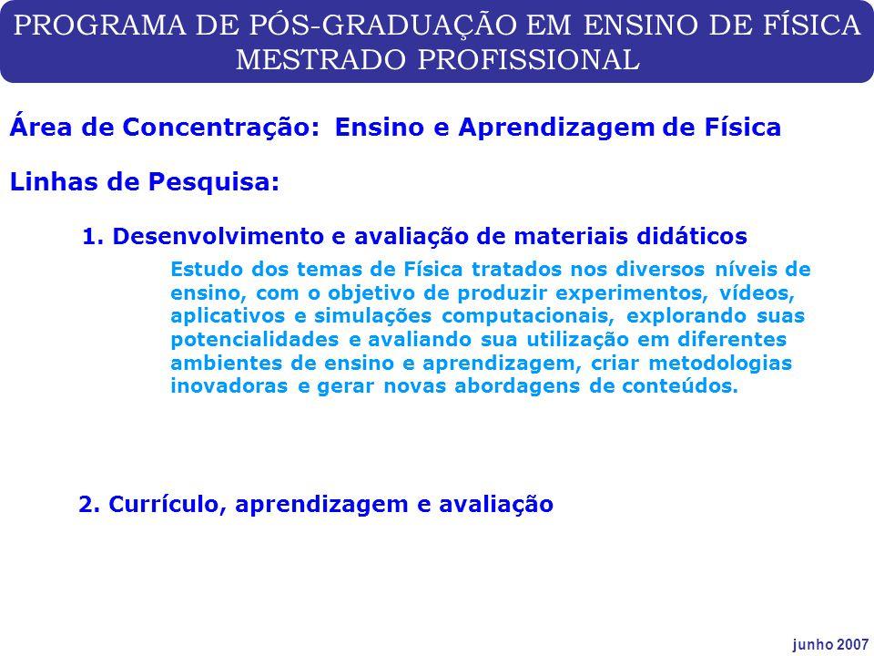 PROGRAMA DE PÓS-GRADUAÇÃO EM ENSINO DE FÍSICA MESTRADO PROFISSIONAL junho 2007 Área de Concentração: Ensino e Aprendizagem de Física Linhas de Pesquis