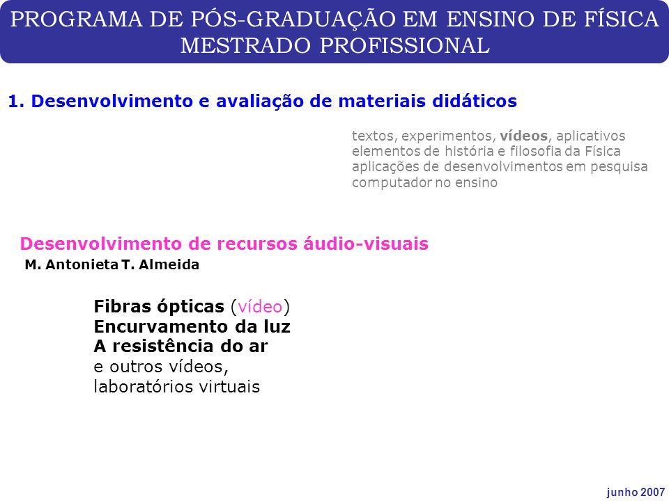 PROGRAMA DE PÓS-GRADUAÇÃO EM ENSINO DE FÍSICA MESTRADO PROFISSIONAL junho 2007 1. Desenvolvimento e avaliação de materiais didáticos Desenvolvimento d
