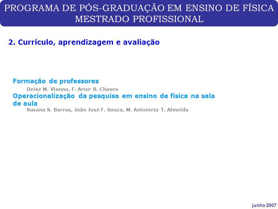 PROGRAMA DE PÓS-GRADUAÇÃO EM ENSINO DE FÍSICA MESTRADO PROFISSIONAL junho 2007 2. Currículo, aprendizagem e avaliação Formação de professores Deise M.