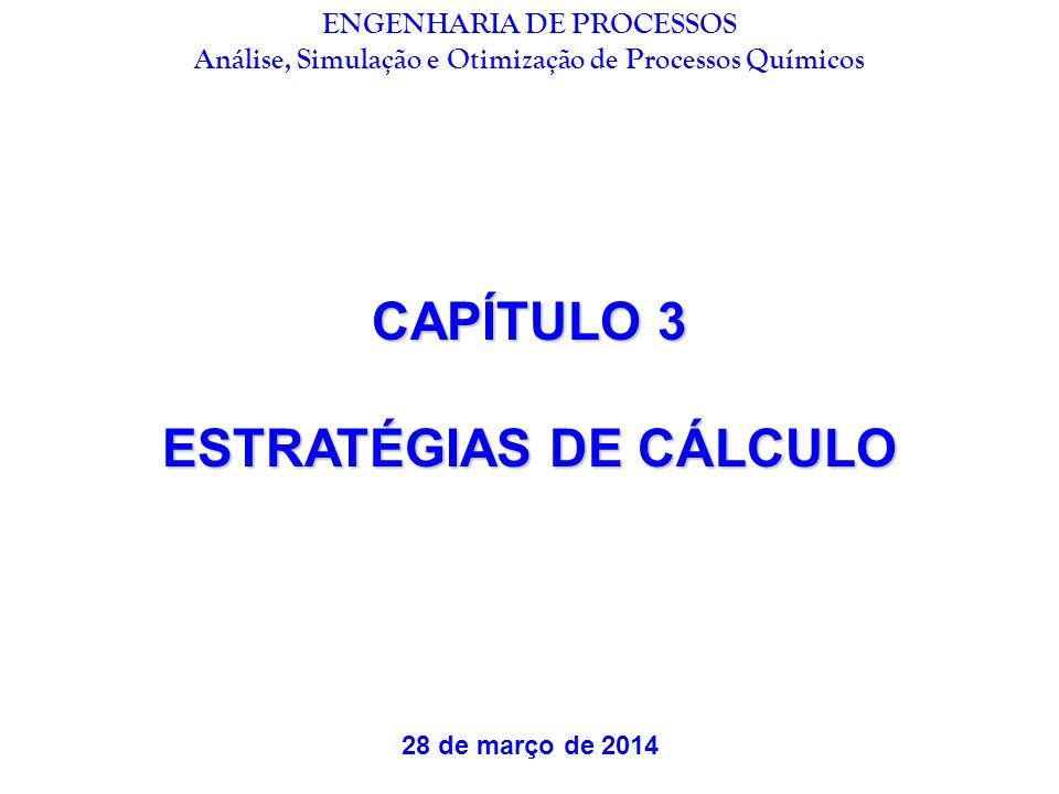 CAPÍTULO 3 ESTRATÉGIAS DE CÁLCULO 28 de março de 2014 ENGENHARIA DE PROCESSOS Análise, Simulação e Otimização de Processos Químicos