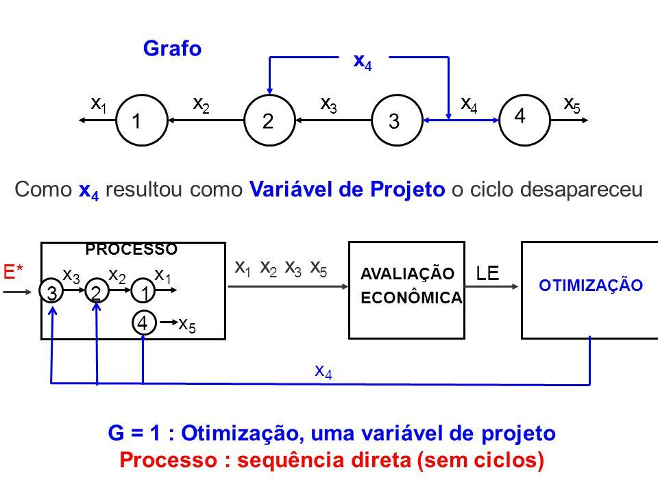 123 4 x1x1 x2x2 x3x3 x4x4 x4x4 x5x5 Grafo PROCESSO OTIMIZAÇÃO LE E* 321 x3x3 4 x2x2 x1x1 x5x5 x4x4 AVALIAÇÃO ECONÔMICA x 1 x 2 x 3 x 5 Como x 4 result