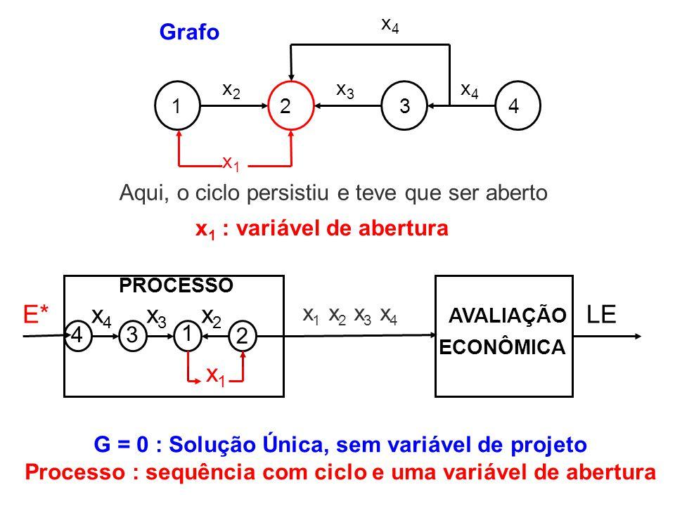 x 1 : variável de abertura PROCESSO LEE* 43 2 1 x4x4 x3x3 x2x2 x1x1 AVALIAÇÃO ECONÔMICA x 1 x 2 x 3 x 4 1234 x2x2 x3x3 x4x4 x4x4 x1x1 Grafo Aqui, o ci