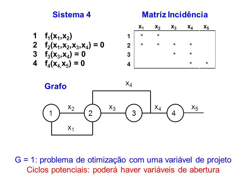 Sistema 4 1f 1 (x 1,x 2 ) 2f 2 (x 1,x 2,x 3,x 4 ) = 0 3f 3 (x 3,x 4 ) = 0 4f 4 (x 4, x 5 ) = 0 G = 1: problema de otimização com uma variável de proje