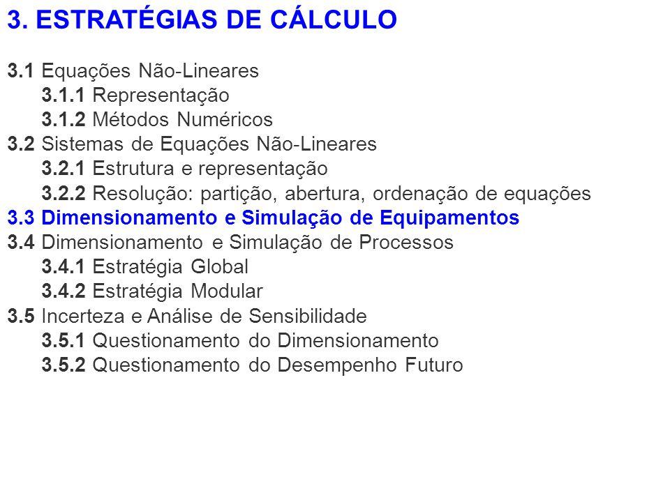3.1 Equações Não-Lineares 3.1.1 Representação 3.1.2 Métodos Numéricos 3.2 Sistemas de Equações Não-Lineares 3.2.1 Estrutura e representação 3.2.2 Reso