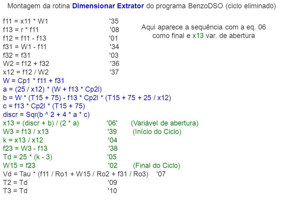 Montagem da rotina Dimensionar Extrator do programa BenzoDSO (ciclo eliminado) f11 = x11 * W1 '35 f13 = r * f11 '08 f12 = f11 - f13 '01 f31 = W1 - f11