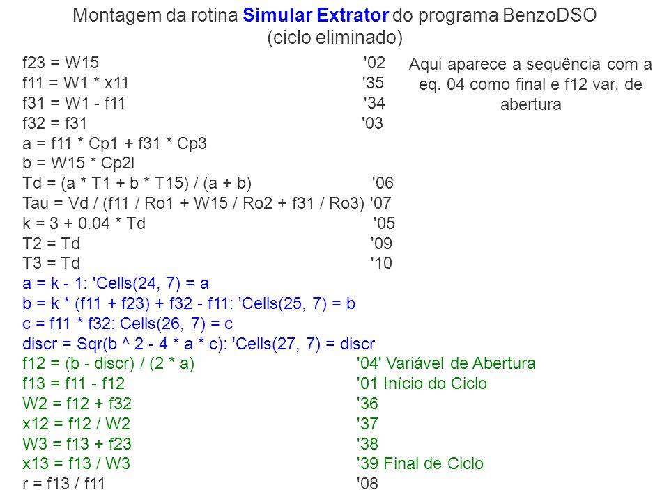 f23 = W15 '02 f11 = W1 * x11 '35 f31 = W1 - f11 '34 f32 = f31 '03 a = f11 * Cp1 + f31 * Cp3 b = W15 * Cp2l Td = (a * T1 + b * T15) / (a + b) '06 Tau =