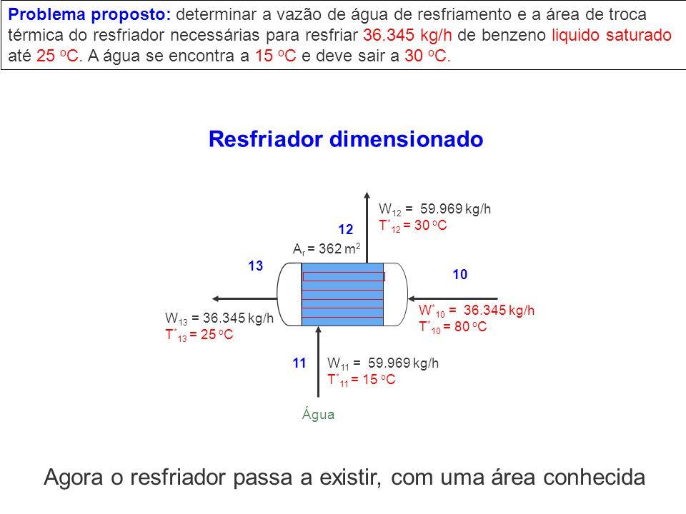 W * 10 = 36.345 kg/h T * 10 = 80 o C W 12 = 59.969 kg/h T * 12 = 30 o C 10 11 12 13 A r = 362 m 2 Água W 11 = 59.969 kg/h T * 11 = 15 o C W 13 = 36.34