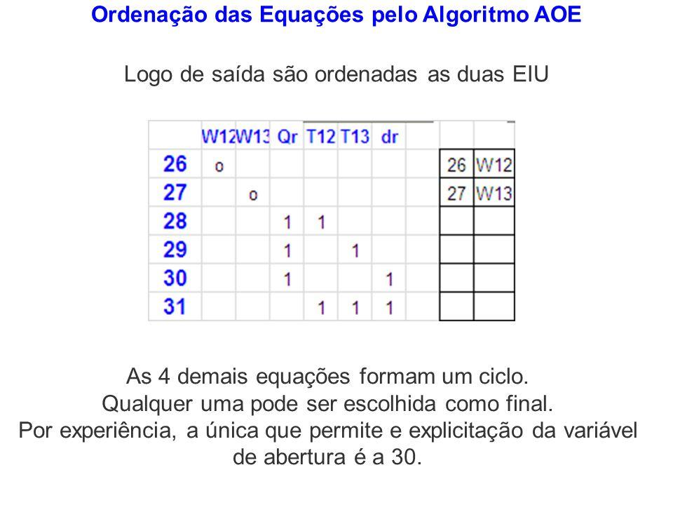 Ordenação das Equações pelo Algoritmo AOE Logo de saída são ordenadas as duas EIU As 4 demais equações formam um ciclo. Qualquer uma pode ser escolhid