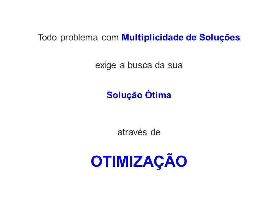 Todo problema com Multiplicidade de Soluções exige a busca da sua OTIMIZAÇÃO Solução Ótima através de