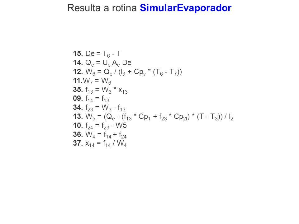 15. De = T 6 - T 14. Q e = U e A e De 12. W 6 = Q e / (l 3 + Cp v * (T 6 - T 7 )) 11.W 7 = W 6 35. f 13 = W 3 * x 13 09. f 14 = f 13 34. f 23 = W 3 -