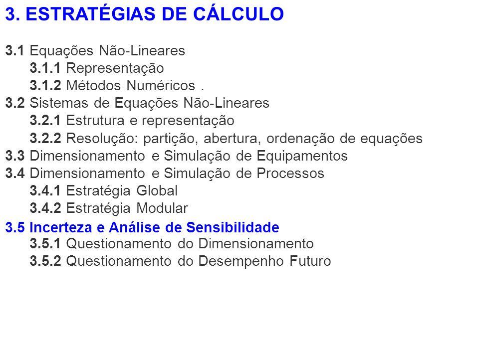 3.1 Equações Não-Lineares 3.1.1 Representação 3.1.2 Métodos Numéricos. 3.2 Sistemas de Equações Não-Lineares 3.2.1 Estrutura e representação 3.2.2 Res