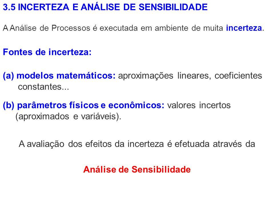 3.5 INCERTEZA E ANÁLISE DE SENSIBILIDADE (a)modelos matemáticos: aproximações lineares, coeficientes constantes... A Análise de Processos é executada
