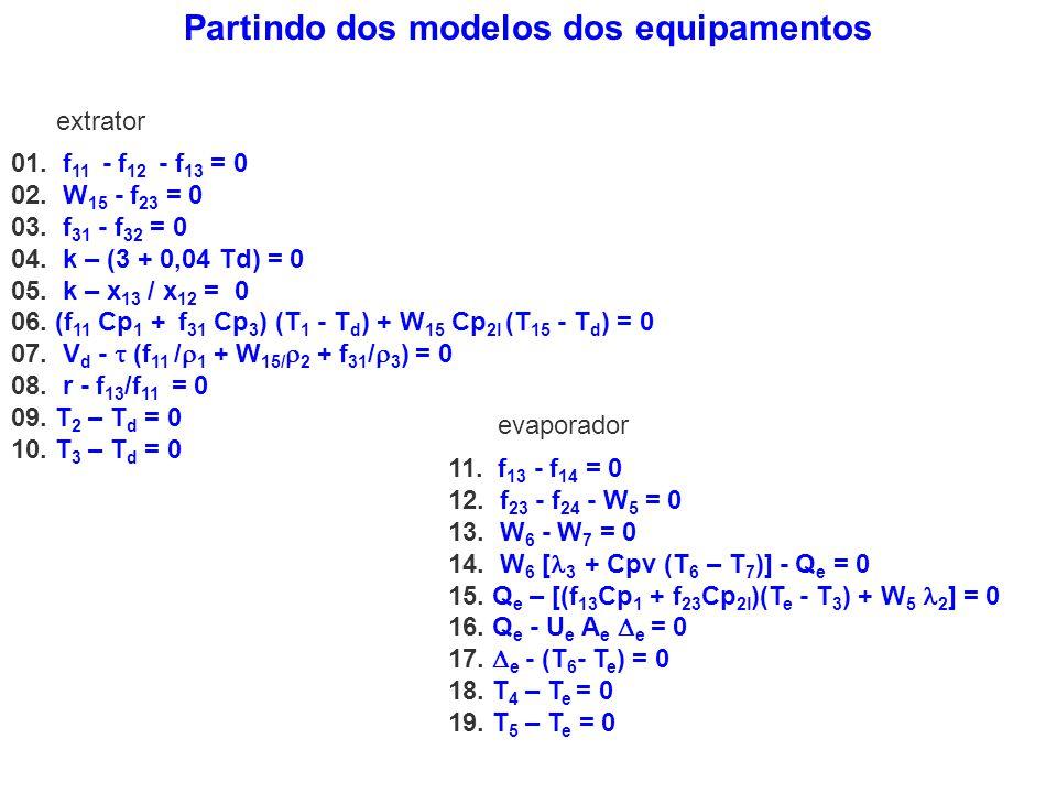Partindo dos modelos dos equipamentos 01. f 11 - f 12 - f 13 = 0 02. W 15 - f 23 = 0 03. f 31 - f 32 = 0 04. k – (3 + 0,04 Td) = 0 05. k – x 13 / x 12