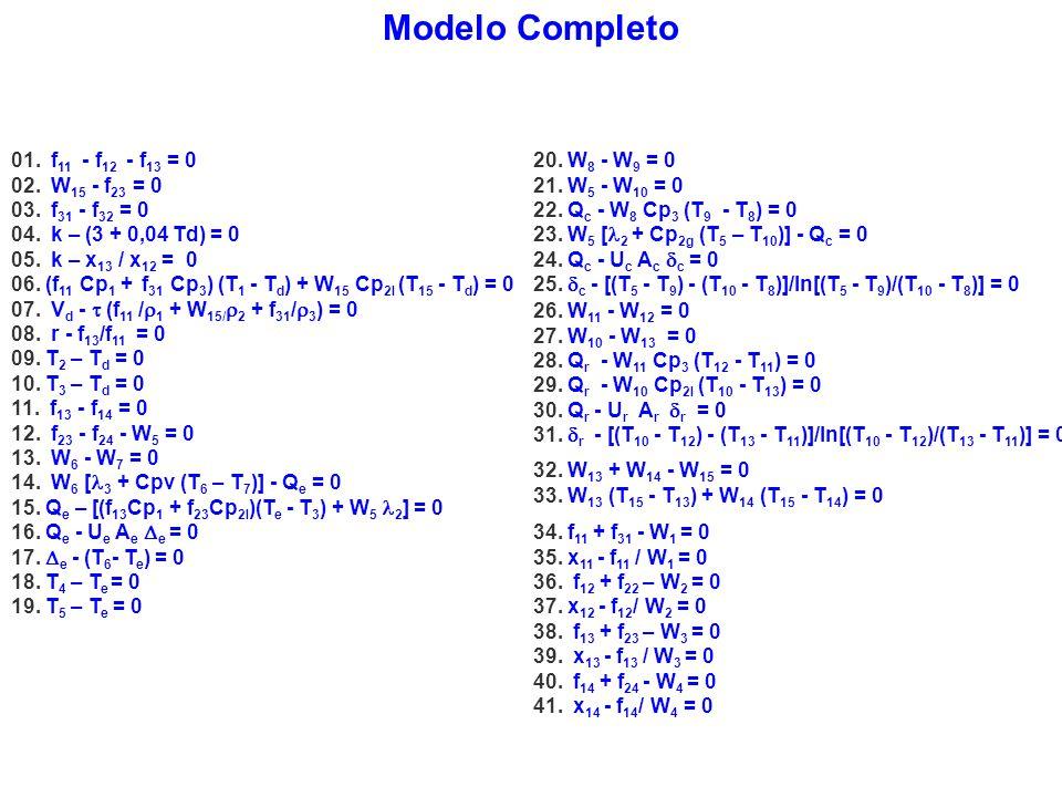 Modelo Completo 01. f 11 - f 12 - f 13 = 0 02. W 15 - f 23 = 0 03. f 31 - f 32 = 0 04. k – (3 + 0,04 Td) = 0 05. k – x 13 / x 12 = 0 06. (f 11 Cp 1 +