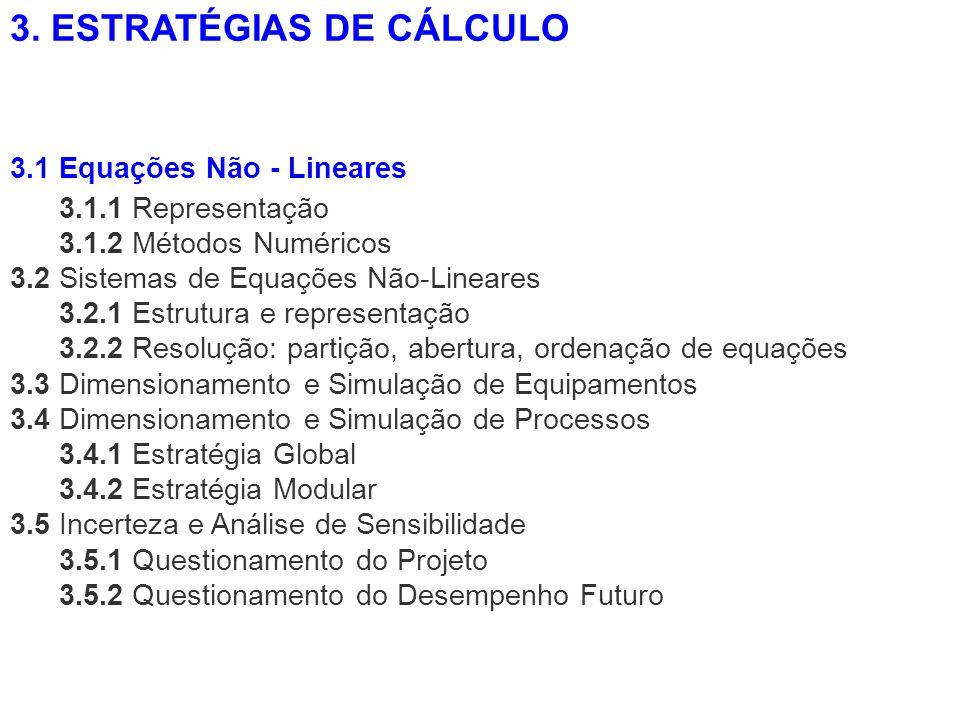 3.1.1 Representação 3.1.2 Métodos Numéricos 3.2 Sistemas de Equações Não-Lineares 3.2.1 Estrutura e representação 3.2.2 Resolução: partição, abertura,