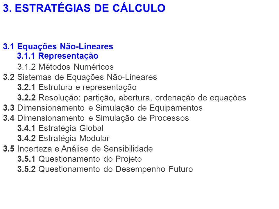 3.1 Equações Não-Lineares 3.1.2 Métodos Numéricos 3.2 Sistemas de Equações Não-Lineares 3.2.1 Estrutura e representação 3.2.2 Resolução: partição, abe