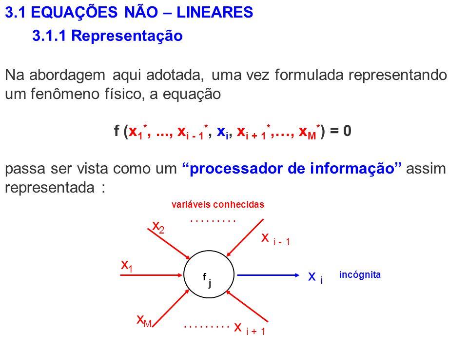 Na abordagem aqui adotada, uma vez formulada representando um fenômeno físico, a equação f (x 1 *,..., x i - 1 *, x i, x i + 1 *,…, x M * ) = 0 passa