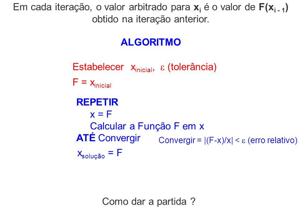 ALGORITMO Convergir = |(F-x)/x| < (erro relativo) Estabelecer x inicial, (tolerância) REPETIR x = F Calcular a Função F em x ATÉ Convergir x solução =