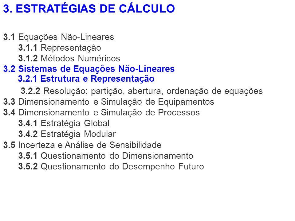 3.1 Equações Não-Lineares 3.1.1 Representação 3.1.2 Métodos Numéricos 3.2.2 Resolução: partição, abertura, ordenação de equações 3.3 Dimensionamento e
