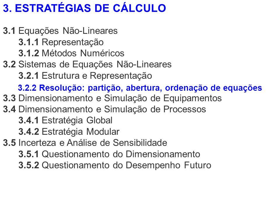 3.1 Equações Não-Lineares 3.1.1 Representação 3.1.2 Métodos Numéricos 3.2 Sistemas de Equações Não-Lineares 3.2.1 Estrutura e Representação 3.3 Dimens
