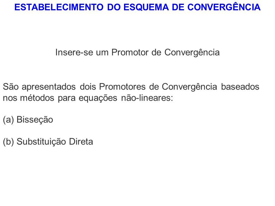 ESTABELECIMENTO DO ESQUEMA DE CONVERGÊNCIA Insere-se um Promotor de Convergência São apresentados dois Promotores de Convergência baseados nos métodos