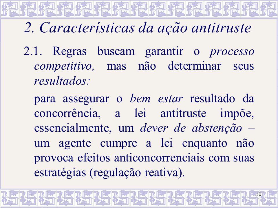 10 2. Características da ação antitruste 2.1. Regras buscam garantir o processo competitivo, mas não determinar seus resultados: para assegurar o bem