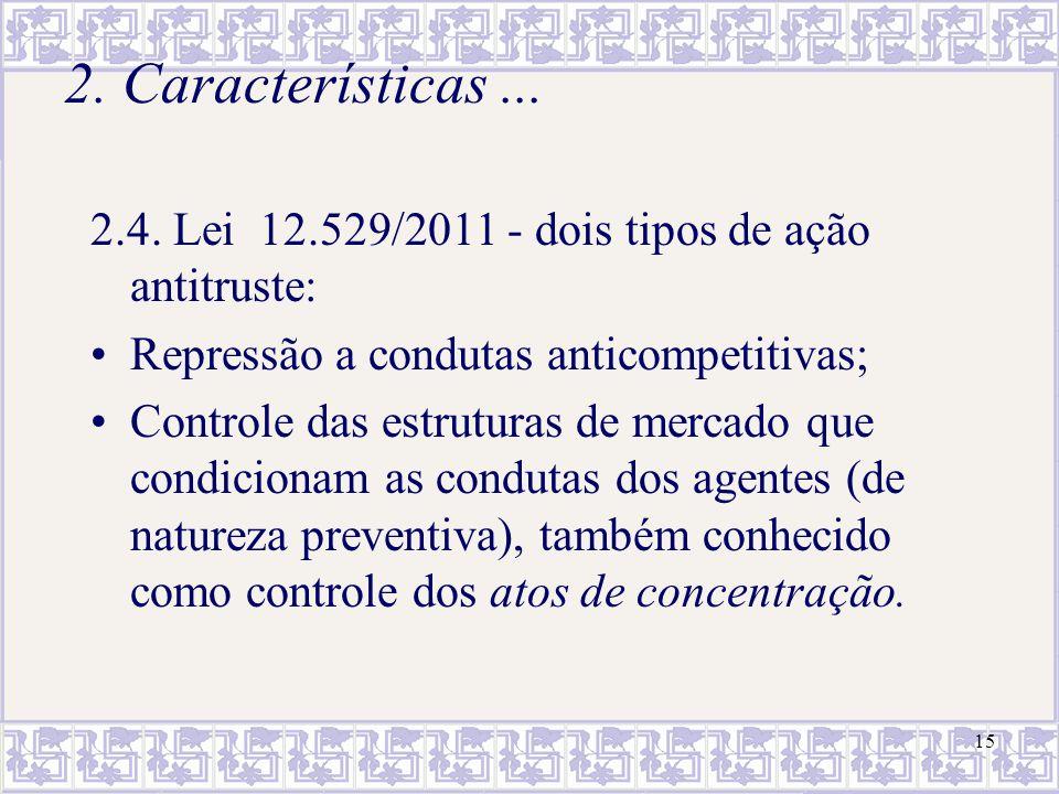 15 2. Características... 2.4. Lei 12.529/2011 - dois tipos de ação antitruste: Repressão a condutas anticompetitivas; Controle das estruturas de merca