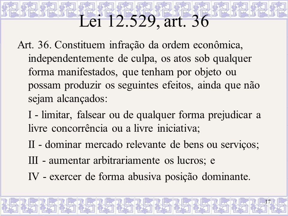 Lei 12.529, art. 36 Art. 36. Constituem infração da ordem econômica, independentemente de culpa, os atos sob qualquer forma manifestados, que tenham p