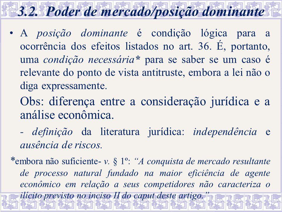 3.2. Poder de mercado/posição dominante A posição dominante é condição lógica para a ocorrência dos efeitos listados no art. 36. É, portanto, uma cond