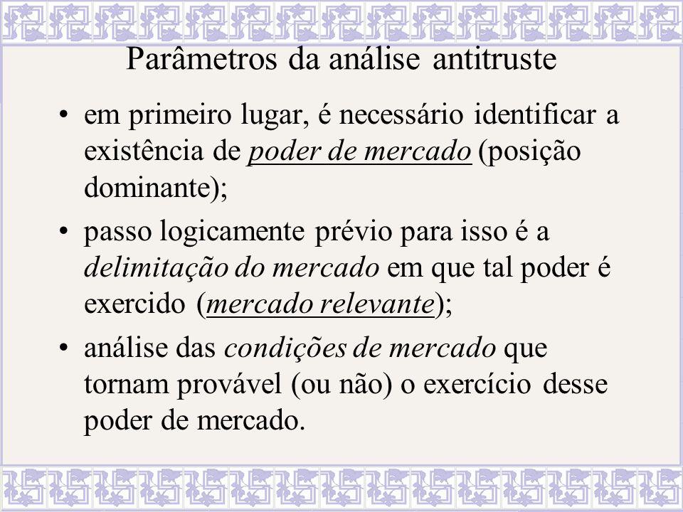 Parâmetros da análise antitruste em primeiro lugar, é necessário identificar a existência de poder de mercado (posição dominante); passo logicamente p