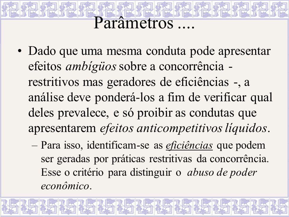 Parâmetros.... Dado que uma mesma conduta pode apresentar efeitos ambígüos sobre a concorrência - restritivos mas geradores de eficiências -, a anális