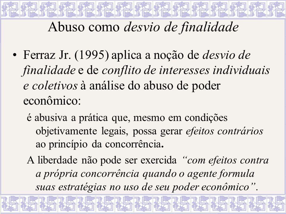 Abuso como desvio de finalidade Ferraz Jr. (1995) aplica a noção de desvio de finalidade e de conflito de interesses individuais e coletivos à análise