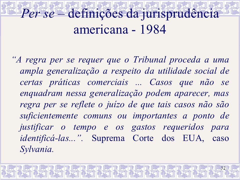 32 Per se – definições da jurisprudência americana - 1984 A regra per se requer que o Tribunal proceda a uma ampla generalização a respeito da utilida