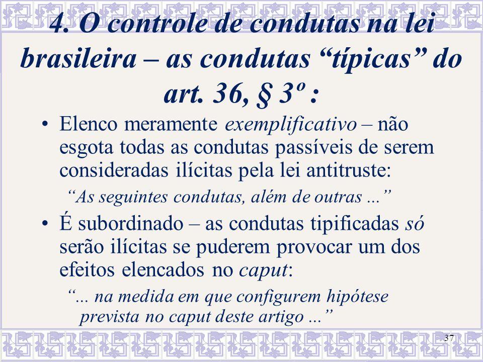 37 4. O controle de condutas na lei brasileira – as condutas típicas do art. 36, § 3º : Elenco meramente exemplificativo – não esgota todas as conduta