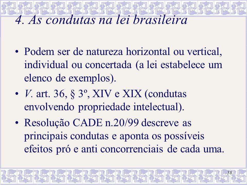 38 4. As condutas na lei brasileira Podem ser de natureza horizontal ou vertical, individual ou concertada (a lei estabelece um elenco de exemplos). V